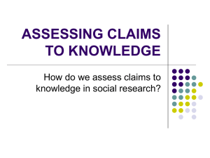 ASSESSING CLAIMS TO KNOWLEDGE