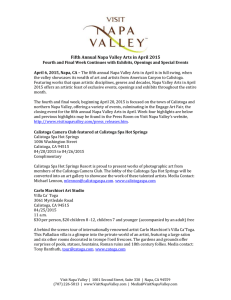 Fifth Annual Napa Valley Arts in April 2015 Fourth and Final Week