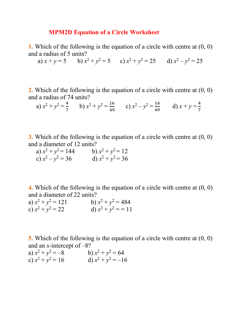Determine the Equation of a Circle in Standard Form   Precalculus in addition Name together with MPM2D Equation of a Circle Worksheet further Radius From Diameter Math Cirference And Area Of A Circle besides Equation of the Circle Worksheet together with 11 Ugly Truth About Standard Form Equation   Form Information besides Writing equations of circles Worksheets moreover Name besides Geometry Worksheets   Circle Worksheets as well Equation Of A Circle Worksheet Luxury solving and Graphing likewise Circle Equation  Center  and Radius Worksheet Five Pack   Math together with Quiz   Worksheet   Finding the Equation of a Circle   Study additionally Circle further Writing Equations Worksheet Math Writing Equation Of Circles also Using equations of circles Worksheets as well Equations of Tangents to Circles by mrsmorgan1   Teaching Resources. on equation of a circle worksheet