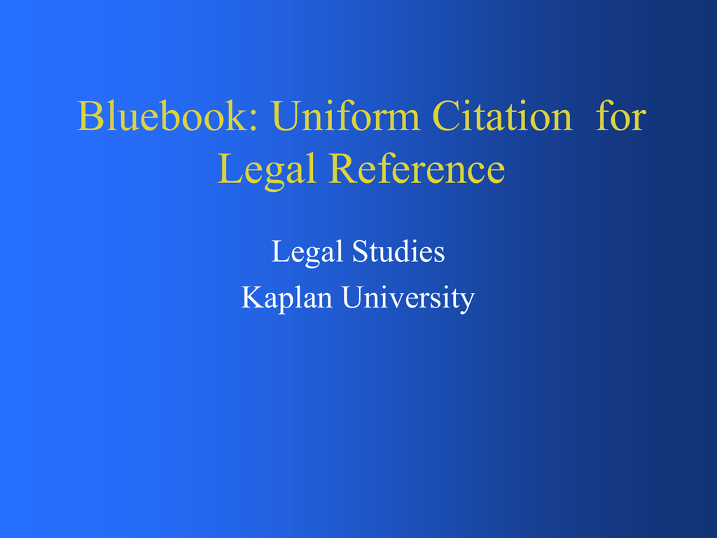 Blue Book Citation