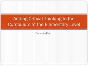 Adding Critical Thinking to the Curriculum at the