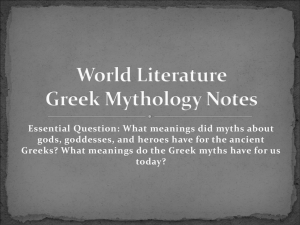 World Literature Greek Mythology Notes