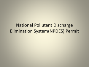 National Pollutant Discharge Elimination System(NPDES) Permit