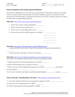 Printables Population Growth Worksheet human population growth worksheet populations and carrying capacity webquest