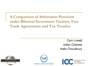 A Comparison of Arbitration Provision under Bilateral Investment