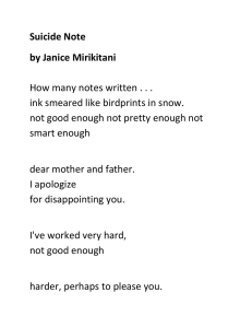 Suicide Note by Janice Mirikitani