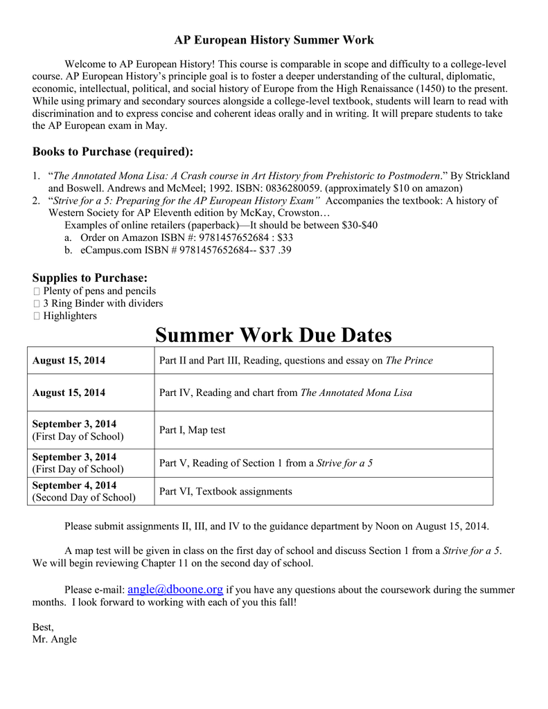 ap european history summer work rh studylib net