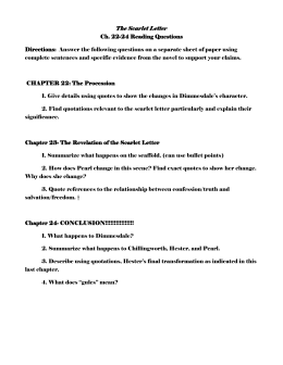 Scarlet Letter Chapter   Discussion Questions