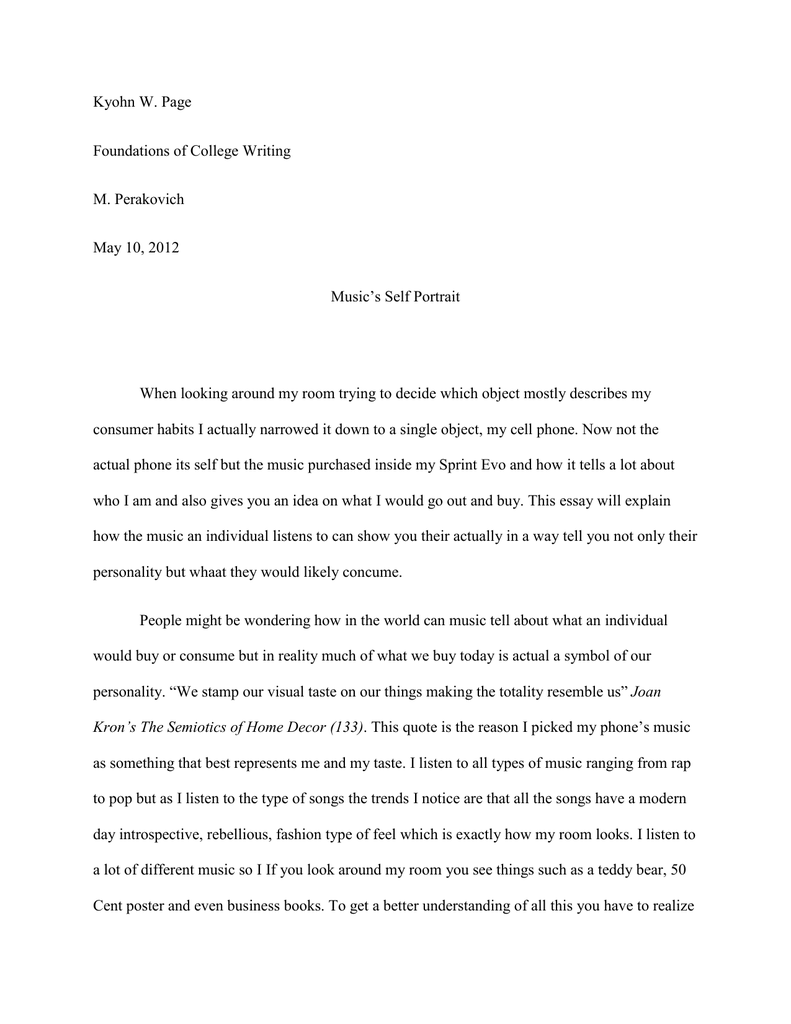 object that represents you essay