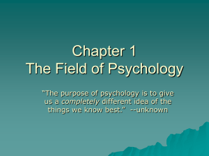 Chapter 1 The Field of Psychology
