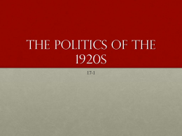 The Politics of the 1920s