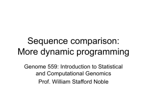 Sequence comparison: Dynamic programming