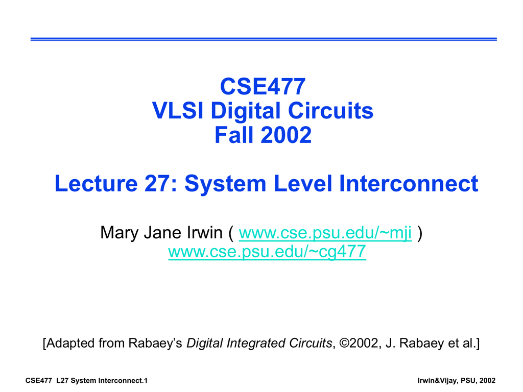 System Interconnect Digital Integrated Circuits Second Edition Circuit