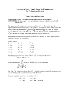 Pre-Algebra Notes – Unit 9: Roots, Real Numbers and