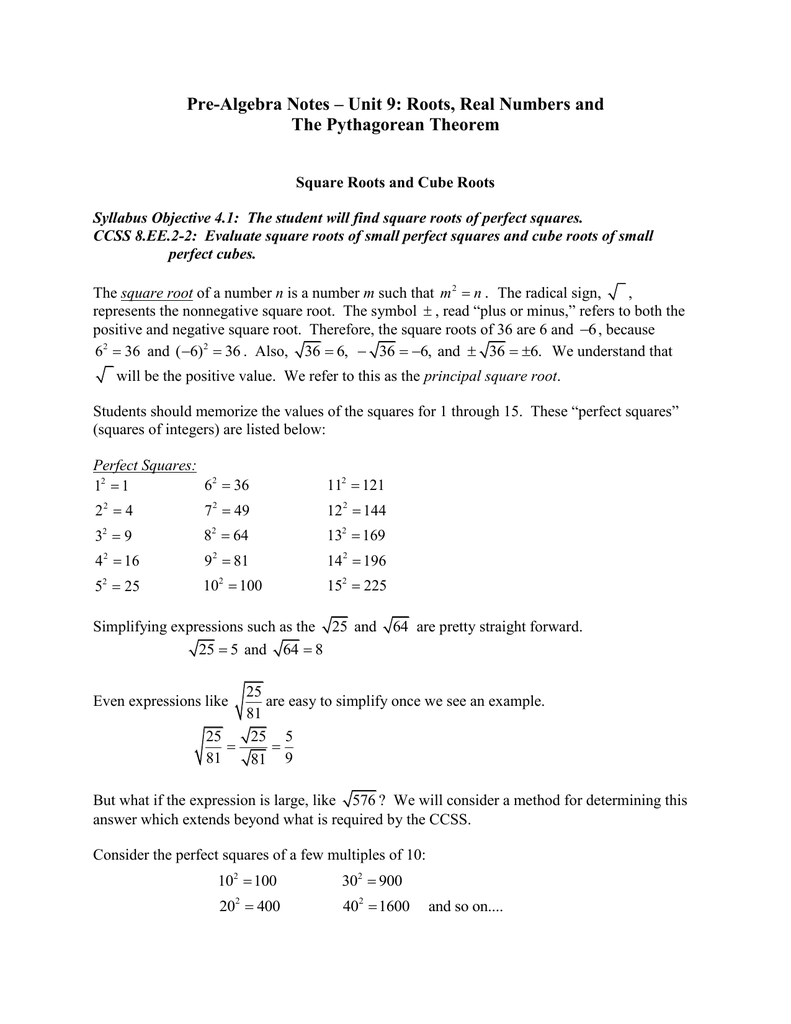 Pre Algebra Notes Unit 9 Roots Real Numbers And 2 square root 25/16 3. pre algebra notes unit 9 roots real