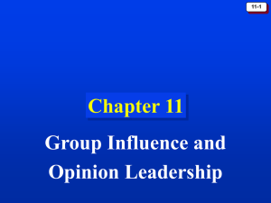 Chapter 11: Group Influence and Opinion Leadership