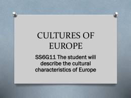 Notes - Cultures of Europe