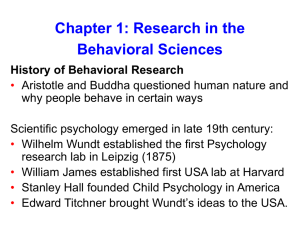 Chapter 1: Research in the Behavioral Sciences History of