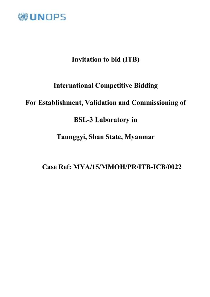 ITB No : MYA/15/MMOH/PR/ITB-ICB/0022
