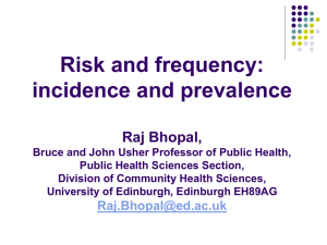 Risk and frequency: incidence and prevalence