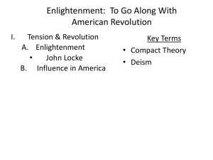 Enlightenment: To Go Along With American Revolution