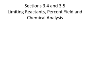Section 3.3 Stoichiometry and Chemical Reactions
