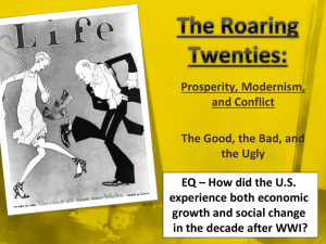 The Roaring Twenties: Prosperity, Modernism, and Conflict The