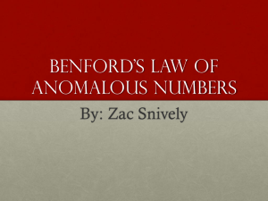 Benford*s lAw of anamolous numbers
