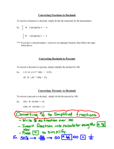 Converting Fractions & Decimals