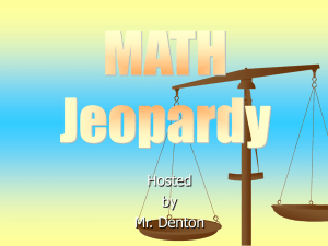 Math Jeopardy Unit 9