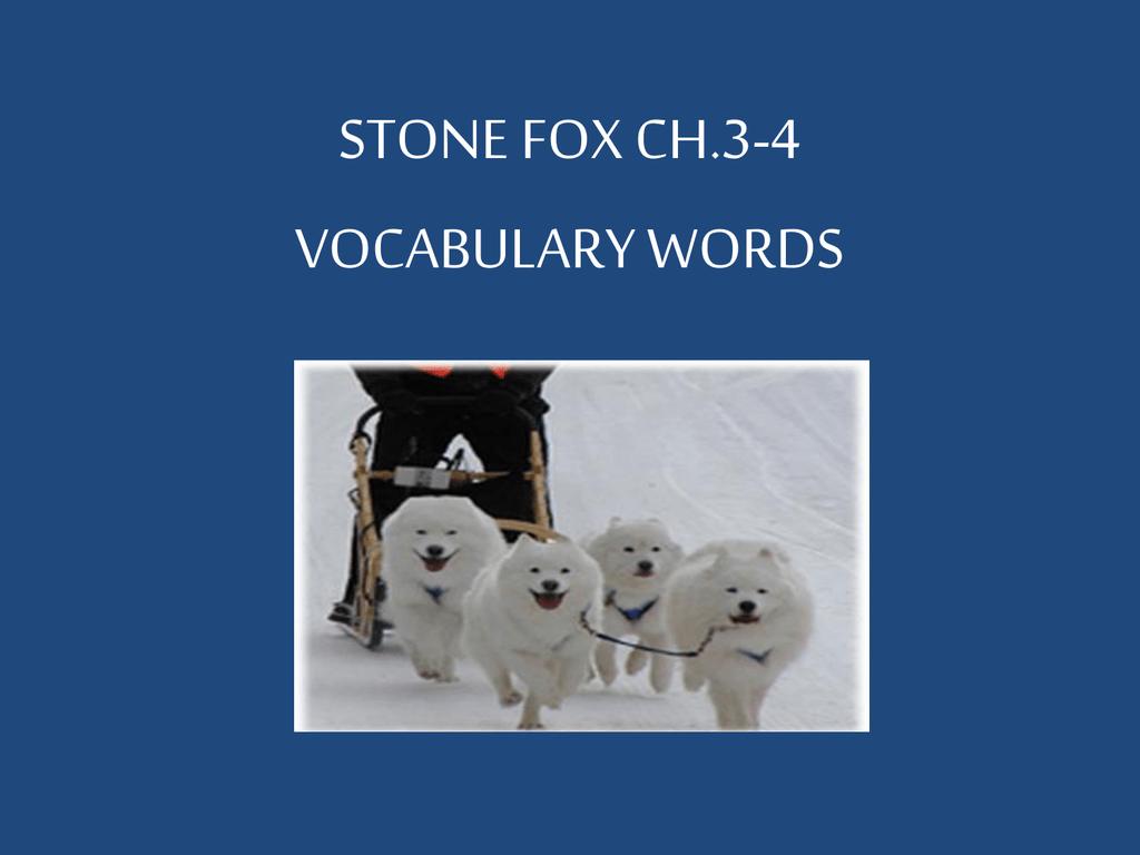 stone fox vocabulary words