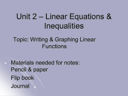 Unit 1 * Foundations of Algebra