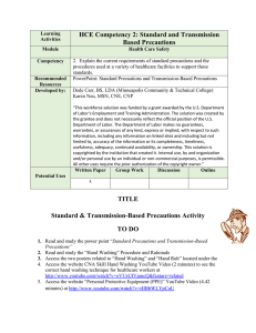 HCE Competency 2: Standard and Transmission Based Precautions