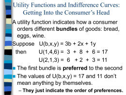 Utility Functions and Indifference Curves: Getting Into the