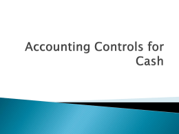 Accounting Controls for Cash