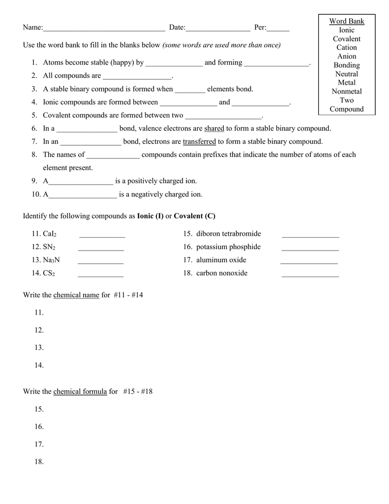 Ionic And Covalent Compounds Worksheet Regular