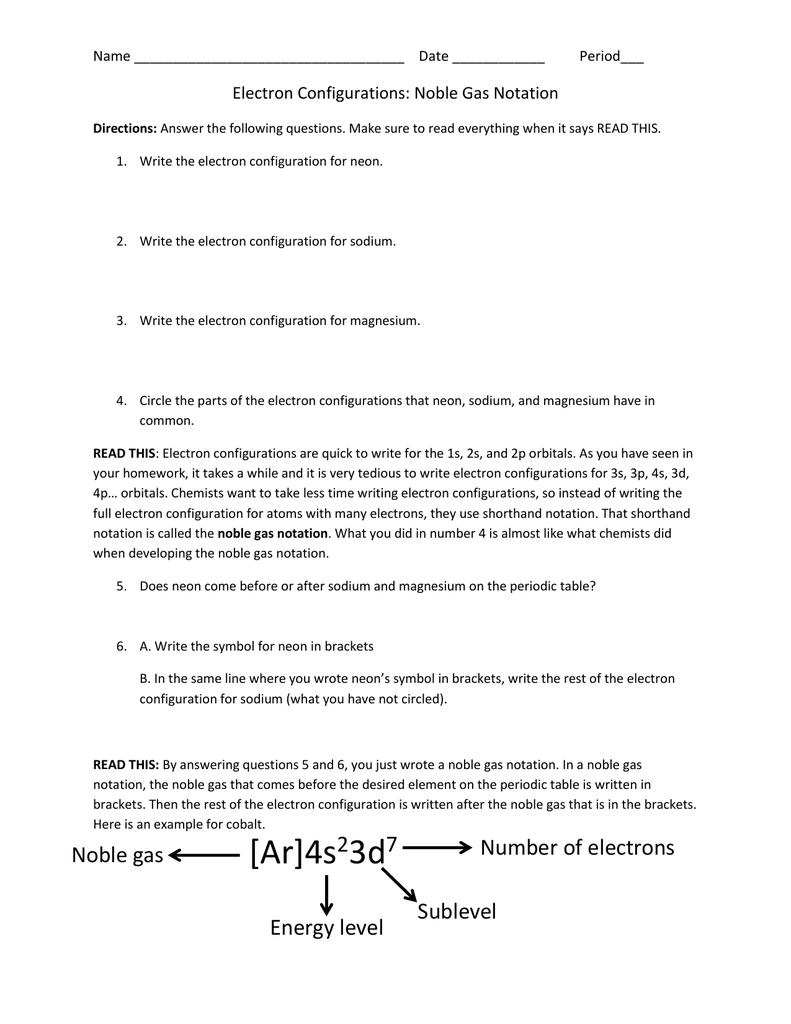 E Configs Noble Gas Notation