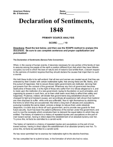 Seneca Falls Declaration of Sentiments