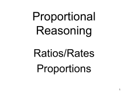 Notes on Ratios and Proportional Reasoning