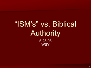 """ISMS"" vs. Biblical Authority (5-28-06 300k)"