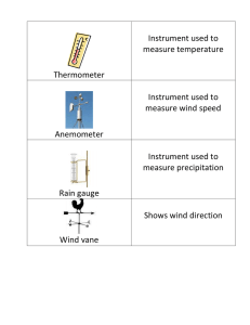 Thermometer Instrument used to measure temperature Anemometer