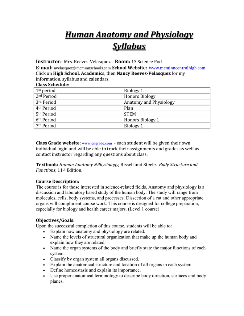 Human Anatomy And Physiology Syllabus Instructor