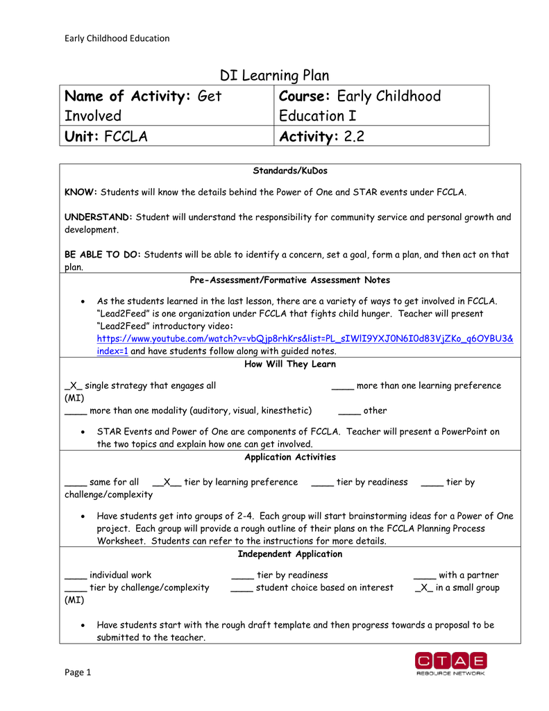Activity 2 – Fccla Planning Process Worksheet