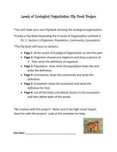 Levels of Ecological Organization Flip Book Project