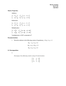 Review Session MAT 343 Fall 2015 Matrix Properties: Addition