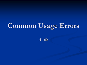 Common Usage Errors