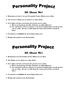 Personality Project All About Me! Brainstorm at least 4 of your