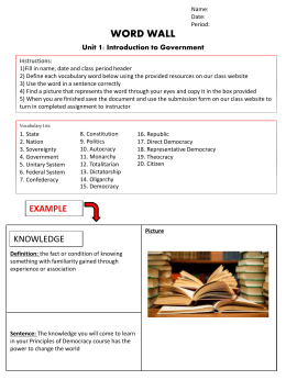 WORD WALL Unit 1: Introduction to Government