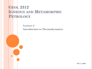 GEOL 2312 IGNEOUS AND METAMORPHIC PETROLOGY Lecture