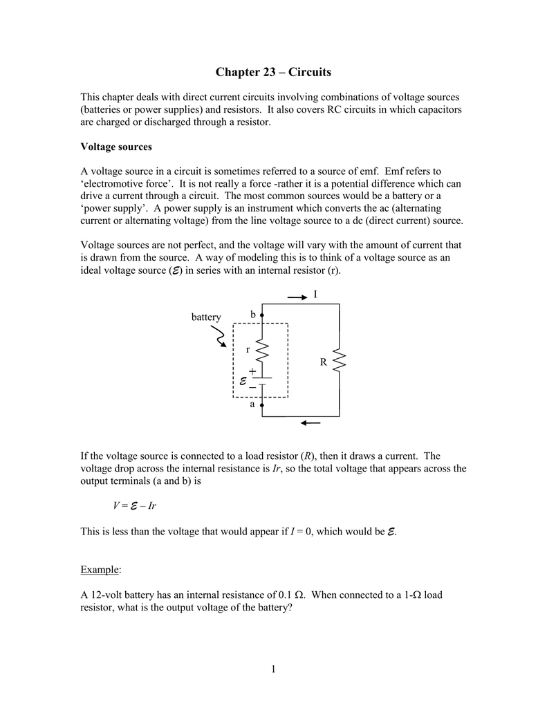 Ch23 Circuits Series Circuit With A Voltage Source Such As Battery Or In This